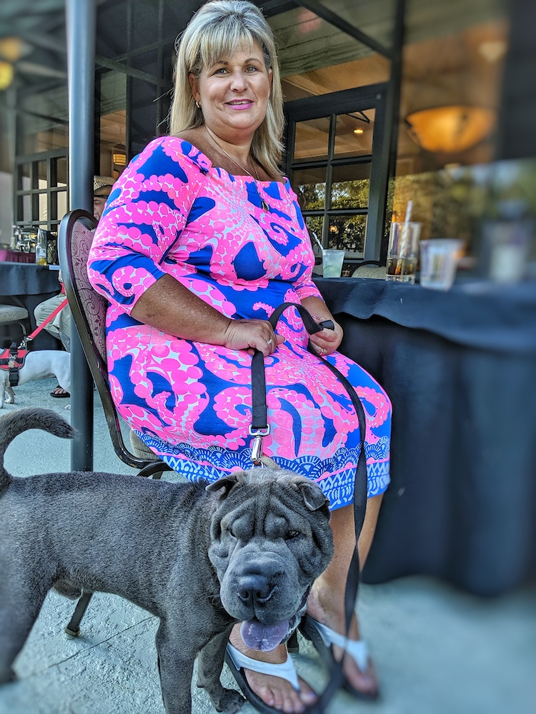 Tucker, 1, with owner Susie Blanchard