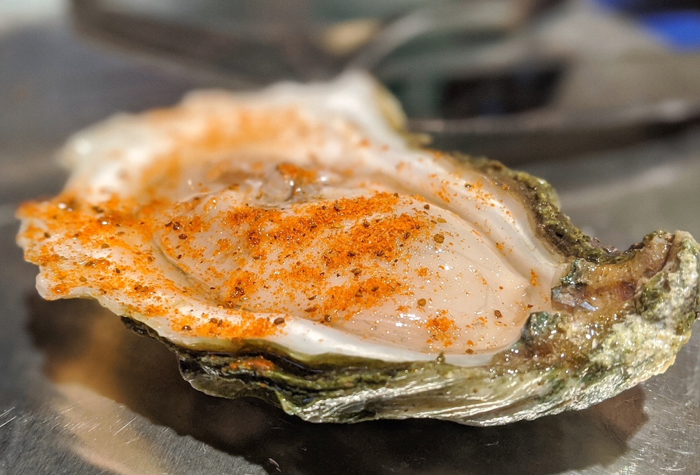 Oyster on the half shell at Shuckin' Shack