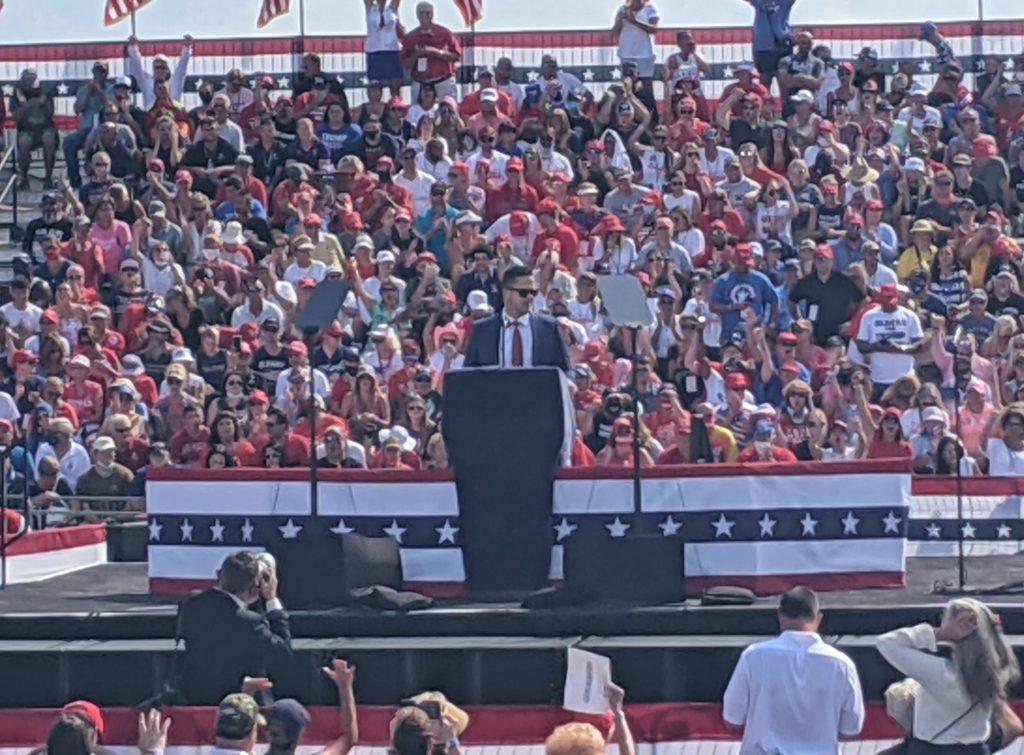 Joe Harding speaks at Trump rally