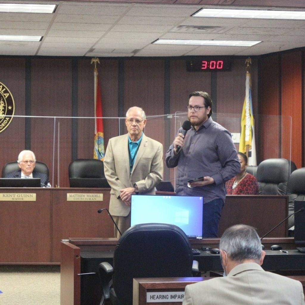Matthew Wardell speaks at August 17 Ocala City Council Meeting